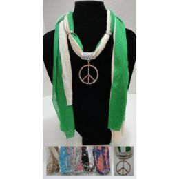 """96 of Scarf NecklacE-Colored Rhinestone Peace Sign 70"""""""