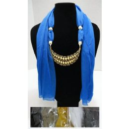 """48 of Scarf Necklace-Crescent Moon W/ Gold Scrollwork 70"""""""