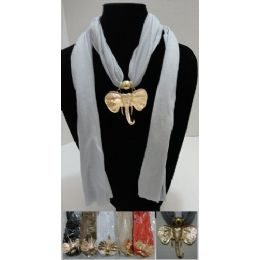 """48 of Scarf Necklace-Golden Elephant Head 70"""""""