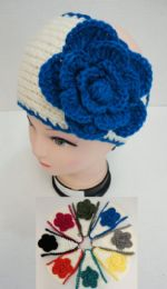 48 Bulk Wider Hand Knitted Ear BanD--Two Color With Flower