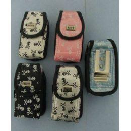 144 Bulk Skull And Crossbones Cell Phone Case-Velcro