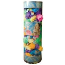 144 Units of Viva 45 Gr. Exfoliating Bath Sponge W/ Suction Cup In Round Canister Display (assorted Colors - Loofahs & Scrubbers