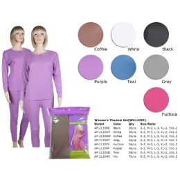 72 of Ladies Thermal Set Teal Asst Colors Sizes S-2xl