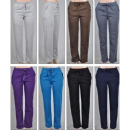 48 Units of Ladies Fleece Lined PantS-Plain 2 Pockets Solid Colors - Women's Pajamas and Sleepwear