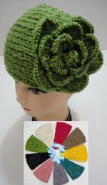 48 Bulk Wide Hand Knitted Ear Band W/ Beaded Flower