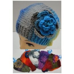 48 Bulk Wide Hand Knitted Ear Band [color Fade & Flower] *loop