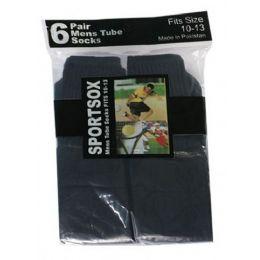 30 Units of Mens 6 Pair Sport Tube Sock Size 10-13 Black Color Only - Mens Tube Sock