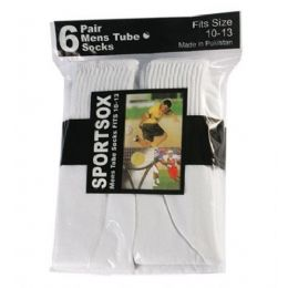 30 Units of Mens 6 Pair Sport Tube Sock Size 10-13 White Color Only - Mens Tube Sock