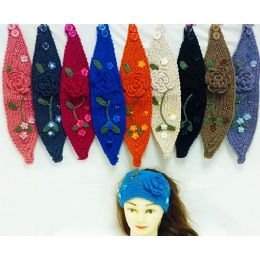 36 Units of Knit Flower Headband With Green Leaf - Fashion Winter Hats