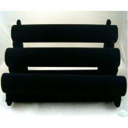 24 Units of Black Velvet Bracelet Jewelry Display Rack 3-Rows - Displays & Fixtures