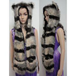 12 Bulk Full Animal Hood With Mittens [brown/tan Stripes]