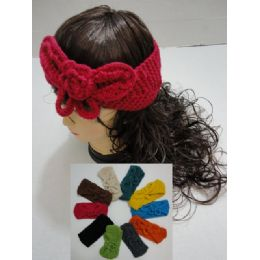 48 Units of Hand Knitted Ear Band [solid Color Loop W Bow] - Ear Warmers