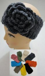 48 Units of Hand Knitted Ear Band [solid Color Loop W Flower - Ear Warmers