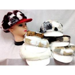48 Bulk Faux Fur Assorted Colored Newsboy Hat Fashion Hats