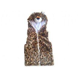 24 Units of Kids Vest With Animal Hoodie Cheetah - Kids Vest