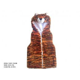 24 Units of Kids Vest With Animal Hoodie Tiger - Kids Vest
