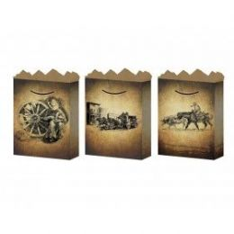 144 Units of G-Bag Large Mat Old West 3 Styles - Gift Bags Hologram