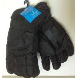 72 Bulk Mens Black Ski Glove Adjustable Velcro Wrist Band