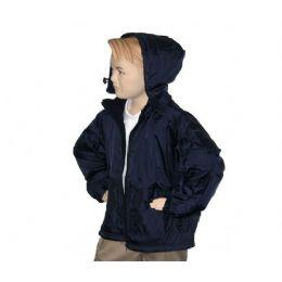 12 Units of Boys School Nylon Zip Jacket W/ Fleece Lining - Boys School Uniforms