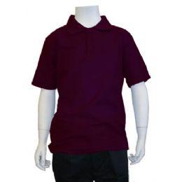 12 Units of Boys School Uniform Polo Shirt Burgundy Color - Boys School Uniforms