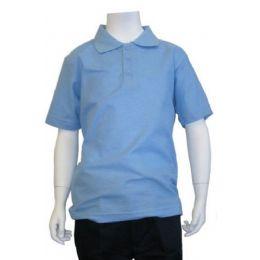 12 Units of Boys School Uniform Polo Shirt Light Blue Color - Boys School Uniforms