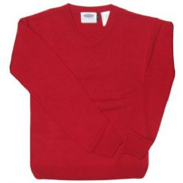 15 Units of Adult V-Neck Pull Over Sweater Red Color Only - Boys School Uniforms