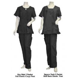 12 Units of 2 Pc Set Scrub Set Black Only - Nursing Scrubs