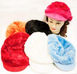 24 Bulk Faux Fur Newsboy Hat Fashion Hats