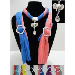 12 of Scarf Necklace-Two Color Scarf With Elephant Charm