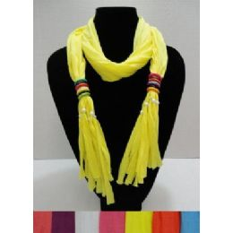 """24 of Scarf Necklace With Multicolor Wooden BeadS-72"""""""