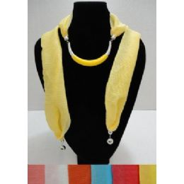 """24 of Scarf Necklace--Crescent Moon With End Charms [ribbed Scarf]-72"""""""