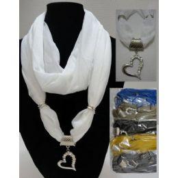 "24 of Scarf Necklace-Loop ScarF-Solid Heart W/ Rhinestones 70"""