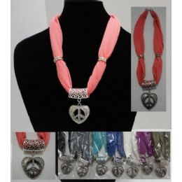 """48 of Short Scarf NecklacE-Peace Sign Heart 30"""""""