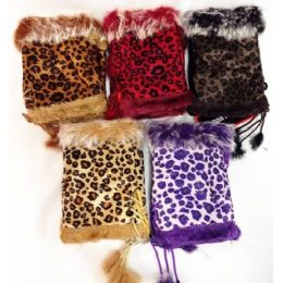 12 Units of Fingerless Faux Fur Suede Leopard Texting Gloves - Conductive Texting Gloves