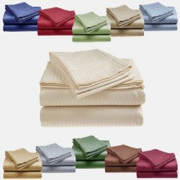12 Units of 1800 Series Ultra Soft 4 Piece Embossed Stripe Bed Sheet Size Queen In Mocha - Bed Sheet Sets