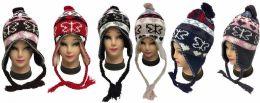 36 Bulk Knit Butterfly Heart Winter Hats With Ear Flaps