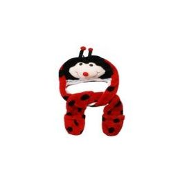 12 Units of Cute Plush Ladybug Animal Character Builtin Paws Mittens Hat - Winter Animal Hats
