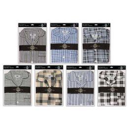 36 Units of Men's Cotton Pajamas With Short Sleeves And Long Pants 100% Cotton - Mens Pajamas