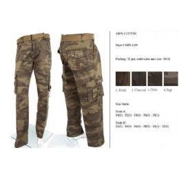 12 Units of Men's Fashion Cargo Camouflage Pants 100% Cotton - Mens Pants