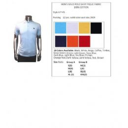 48 of Men's Solid Polo Shirt Pique Fabric 100% Cotton In Size Chart B Only
