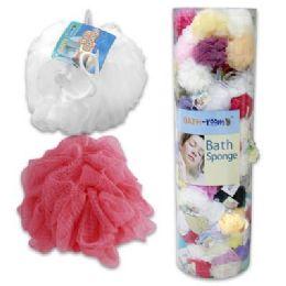 144 Units of 45 Gram Bath Sponge In Freestanding Floor Display - Loofahs & Scrubbers