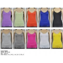 144 Units of Ladies Lace Assorted Color Tank Top - Womens Camisoles & Tank Tops