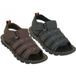 24 Units of Boy's Soft Man Made Leather Upper Velcro Sandals - Boys Flip Flops & Sandals