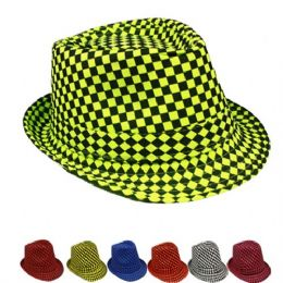 48 Units of Checkered Assorted Fedora Hat - Fedoras, Driver Caps & Visor
