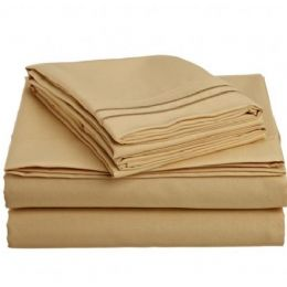 12 Units of 2 Line Embroidery Sheets Set Solid Gold In Microfiber King - Sheet Sets