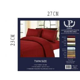 12 Units of Assorted Embroidery Sheet Sets In Burgandy Queen Size - Sheet Sets
