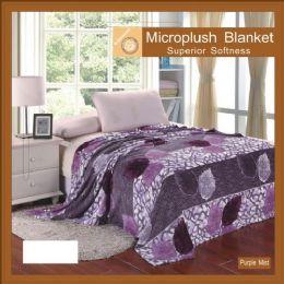 12 Units of Flower Print Blankets Twin Size Purple Mist - Blankets & Bedding