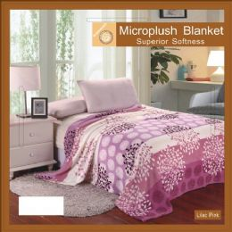 12 Units of Flower Print Blankets Twin Size Lilac Pink - Blankets & Bedding