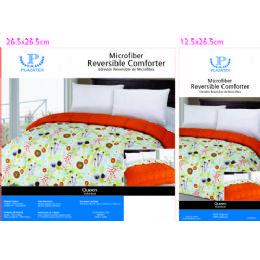 6 Units of Printed Reversible Comforter - Queen Microfiber - Blankets & Bedding