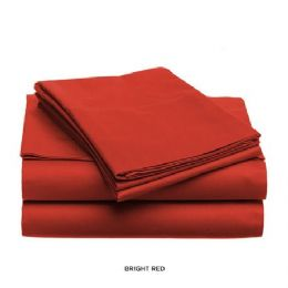 12 Units of 3 Piece Solid Sheet Set Red - Sheet Sets
